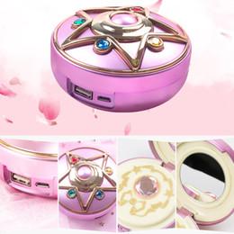 luna specchio Sconti specchio Anime trucco Sailor Moon cristallo caricatore mobile di potere stella 8000mAh ricaricabile incorporata batteria con SH190925 specchio per il trucco