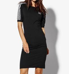 2019 manga comprida camisa blusa comprimento do joelho Mulheres verão casual dress designer preto e azul escuro em torno do pescoço meia manga vestidos frete grátis