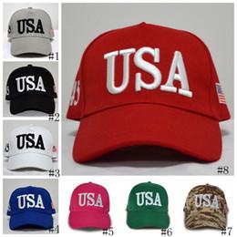 Usa cappelli online-Berretti da baseball Trump Hat Rendere l'America di nuovo eccezionale Cappelli Donald Trump Republican Snapback USA Flag Cappelli da uomo Mens GGA2640