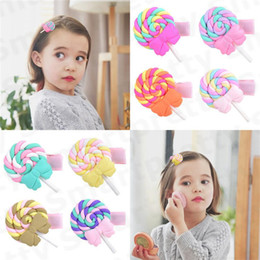 bébés en pâte polymère Promotion 2020 Bébés filles Barrettes Belle argile polymère arc-en-Lollipop Bobby Pin princesse arc-en-Hairpin Kid bonbons couleur nuage Barrettes E31201