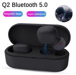 iphone bluetooth headphones Скидка Q2 Спортивная гарнитура Bluetooth V5.0 Наушники стерео Bluetooth Наушники Беспроводные наушники Handfree с микрофоном для iphone xiaomi huawei Смартфон