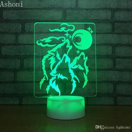 cadeaux décoratifs de bureau Promotion Distance 16 couleurs Loup et la Lune 3D Acrylique LED Night Light Table Bureau Party lampe lumière décorative cadeau