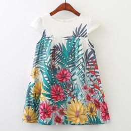 Material meninas roupas on-line-Floral Imprimir Ruffle Algodão A-Line Vestido Mori Estilo Vestuário Algodão Material Kid Designer Clothes Girls Dress