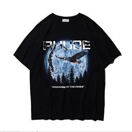 орлиная рубашка печать Скидка 2019ss Rhude Eagle Отпечатано Женщины Мужчины С Коротким Рукавом Летние Футболки Мужчины Уличная Хлопок Повседневная Футболка