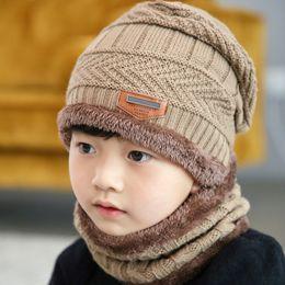 9855a4b9fb9 ... Pompon Winter Plus velours enfants chapeau tricoté bonnet mignon pour  les filles garçons Casual filles Bonnets bébé noir bonnet noir pour bébé  pas cher
