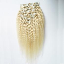 Clip diritta crespa dei capelli biondi nelle estensioni clip di yaki grossa 120g in estensioni dei capelli umani 10pcs / lot clip di yaki nelle estensioni da