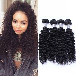 Onda profunda extensões de cabelo 100% humano Pacotes Cabelo Natural Cor 4 Pacotes indiana onda profunda não Remy Tece cabelo de