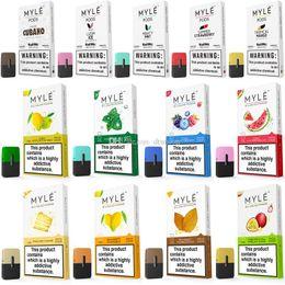 2019 pinzas de bobina maestra 5 sabores Myle Pods para Myle Vape Starter Kit Batería Compatible Pods Cartuchos en stock Alta calidad