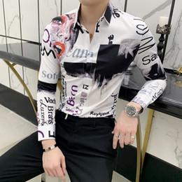 Forma magro da camisa on-line-Estilo britânico Camisa Dos Homens Camisa Masculina Moda Imprimir Smoking Manga Comprida Slim Fit Camisas de Vestido Dos Homens Night Club Chemise Homme