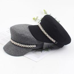 Chapéu pequeno britânico on-line-Hat maré feminino coreano moda selvagem ocasional outono boina e pérola inverno pequeno perfumadas de vento retro tampa marinha britânica