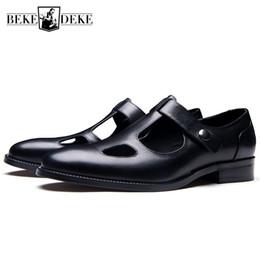 sandálias de gladiador de escritório Desconto New Designer Mens Oco Out Sandálias Gladiador Verão 2019 Dedo Apontado Sandálias De Couro Genuíno Escritório Homem Trabalho Sapatos Respiráveis