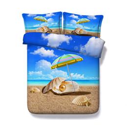 Blue Ocean Bettbezug-Set Sunny Sea Shore Sand Beach 3-teiliges Bettwäscheset mit 2 Kissen Shams Sunset Tropische Palme Tagesdecke Schädel von Fabrikanten