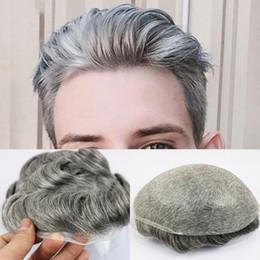 Perruques de peau mince en Ligne-Postiche de la peau mince pour le remplacement postiches pour hommes Système 1B65 Couleur de cheveux humains Hommes perruque