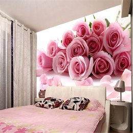 papel de parede 3D-Fototapete Romantische Malerei Rosa Blume romantische  Wohnzimmer Schlafzimmer Wandwand stieg Papier