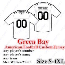 Grüne bucht trikots online-BENUTZERDEFINIERTE Green Bay American-Football-Trikots 81 Allison 80 Driver 4 Favre 52 Gary 26 Savage Jr. Größe S-4XL Mischungsauftrag Männer Frauen Jugend Genäht