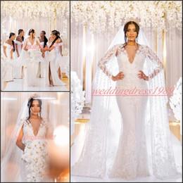 Vestidos de novia estilo vaina online-Vestidos de boda de lujo cordón de la envoltura con papel atractivo apliques Dubai estilo occidental de las lentejuelas novia formal vestido nupcial de la sirena Vestido de novia