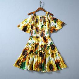Autumn 2019 New European And American Women S Wear The Horn Sleeve Condole Belt Sunflower Print Fashion Dress