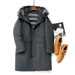 Abrigos de piel de hip hop de hombres online-Pato invierno por la chaqueta Hombres Ropa de Calle Hip Hop Casual chaqueta cuello de la piel de la capa encapuchada Parka Manteau Homme Hiver ZL1349