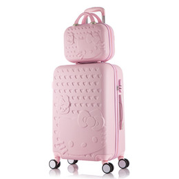 Сумка для багажа Hello Kitty, детский чемодан для женщин, ABS Cartoon Travel Box, сумка-футляр для тележки Rolling Trolley, 20