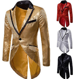 64c3f5739d268 Mens Slim Fit Sequin Tailcoat 2019 Spring Brand New Male Long Sleeve Frock  Coat Man Party Club Wedding Suit Blazer Jacket