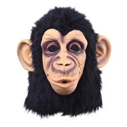 Macaco vestido on-line-. Engraçado principal do macaco Latex Máscara facial inteira Adulto respirável Halloween Masquerade Fancy Dress Partido Cosplay Parece J190710 real