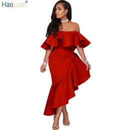 232bd2b926fc HAOYUAN Off spalla arricciata Wrap Bodycon Dress Nuovo arrivo Robe Night  Party Beach Dress asimmetrica Women Sexy Club Abiti asimmetrico vestito  club sexy ...