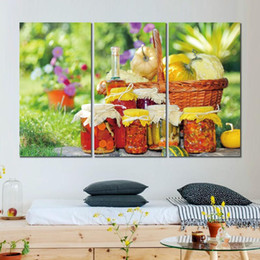 2019 pintura al óleo hierba Cuadro en lienzo pintura 3 paneles cesta jarra botella aceite hierba flores moderno hogar decoración de la pared sin marco rebajas pintura al óleo hierba