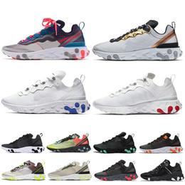 Кроссовки из пвх онлайн-Nike react element 87 кроссовки T728N черный белый атлетический открытый Спорт Jogging обувь тренера скорость женщин кроссовки
