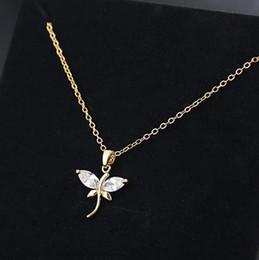 Libellen modeschmuck halsketten online-Designer Schmuck Libelle Anhänger Halskette Zirkon Silber überzogene Halskette Halsreifen für Frauen heiße Mode versandkostenfrei