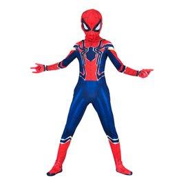 Trajes de spiderman para niños online-Partido del traje del hombre araña de hierro Niño Niños Cosplay Vengadores Infinity War Kids Hombre Araña de Halloween del mono