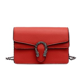 diagonal chain Coupons - Solid color Korean version Designer shoulder bag lychee fashion PU leather fabric promotion diagonal cross bag female wallet