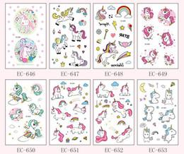 Argentina Novedad de Dibujos Animados Divertidos Unicornio Pegatinas Para Niños Lindo Arte Corporal Impermeable de Halloween Niños Falsos caballo Pegatina Niños Regalo Suministro