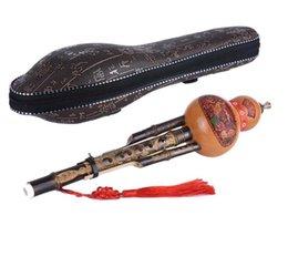 Hulusi flöte online-Hot Chinese Handgemachte Hulusi schwarzer Bambus Gourd Cucurbit Flöte Volksmusikinstrument Tonart C mit Fall für Anfänger Musik Lovers33