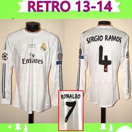 camiseta de futbol 13 Rebajas manga larga 2013 2014 Real Madrid jersey de fútbol 13 14 MORATA retro camiseta de fútbol de la vendimia de ISCO Maillot SERGIO RAMOS Camiseta RONALDO BENZEMA
