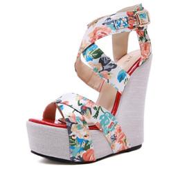 15cm Elegant floral cross strappy platform wedge high heels sandals designer shoes size 35 to 40