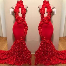Potenza rossa online-Red New Design Mermaid Prom Dresses Appliques Collo alto Sexy abiti da sera formale Sweep Train Satin Luxury Fashion Cocktail Party Gowns