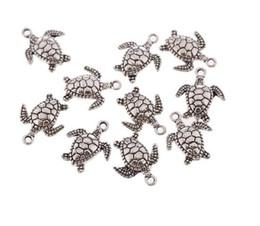 Forma de la tortuga de plata tibetana colgante de los encantos del grano cabida pulsera europea collar pendientes joyería artesanía regalo accesorios 17X15mm desde fabricantes