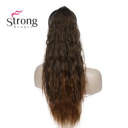 clip de extensiones de cabello blanco Rebajas Extensiones de cabello de 6 colores, largo y rizado, con cola de caballo, en cola de caballo, 22-24 pulgadas, sintético, resistente al calor, COLOR CHOICES