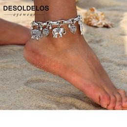 Braccialetto d'argento elefante all'ingrosso online-Cavigliere in argento dorato vintage per donne, ciondoli a forma di elefante, con ciondolo, catena da spiaggia, estate, piede, braccialetto alla caviglia, gioielli all'ingrosso