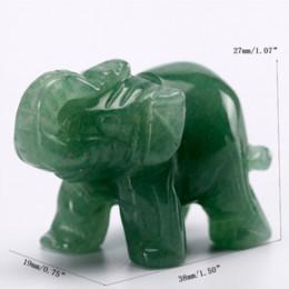 Natural Mini Green Aventurine da 1,5 pollici Elephant Stone Figurine Craft intagliato Jade Animals Statue per Healing Reiki Free Pouch da mini figurine animali fornitori