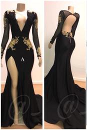 vestidos de árabe sexy Desconto 2019 Apliques de Ouro Preto Vestidos de Baile Profundo Decote Em V Sereia Sexy Backless Manga Longa Vestidos de Noite Do Vintage Árabe Vestido de Festa BC0583