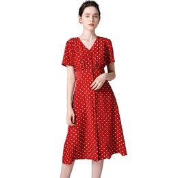 1497ebfefa Vestido de seda al por mayor estilo vintage de Francia de las mujeres 100%  faldas de satén de seda Escote en V manga corta vestidos de seda