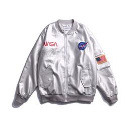 Jaqueta NASA Outerwear MA1 Piloto de Vôo Bomber Designer Jacket Homens Mulheres Silver Windbreaker Baseball Wintercoat Mens Jaquetas Tamanho M-XXL cheap women silver jacket de Fornecedores de jaqueta prateada feminina
