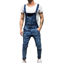 mono de los hombres de alta moda Rebajas Litthing New Fashion Jeans rasgados para hombre Mono High Street Distressed Denim Bib Overol para hombre Pantalones de tirantes más tamaños