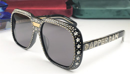 Neue design-brille online-New Luxury Designer 0427 Sonnenbrille für Frauen mit Diamantsteinen Design 0427S Brillen mit quadratischem Rahmen Hochwertige Brillen UV400-Schutz