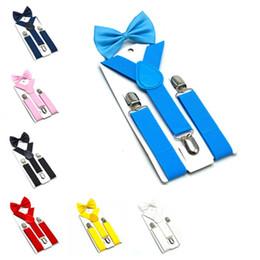 Suspensórios crianças Bow Tie Set 7 Cores Rapazes Meninas Suspensórios elásticos Y Suspensórios com criança Bow Tie Moda Belt Acessórios T2G5067 de