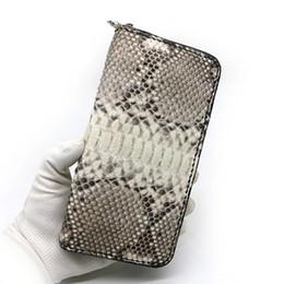 b78650e6e Unisex Style Genuine Python Skin Zipper Closure Men Women Clutch Purse  Exotic Snake Leather Female Male Card Holders Long Wallet