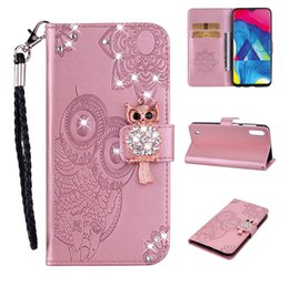 cute owl wallets Coupons - 3D Owl Bling Leather Wallet Case For Samsung M10 M20 M30 J3 J7 2018 LG G7 K7 V40 Stylo 4 K10 2018 Diamond Flower Lace Cute Slot Flip Cover