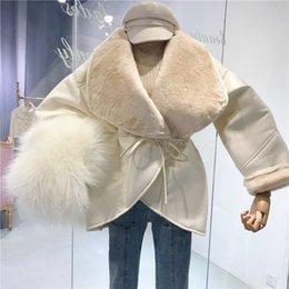 2019 forro para casacos para mulheres 2018 Outono Inverno Moda Streetwear Grande Turn-down Collar Grosso Cordeiro lã Liner PU Casaco Mulheres Casaco de Inverno Quente Outerwear desconto forro para casacos para mulheres