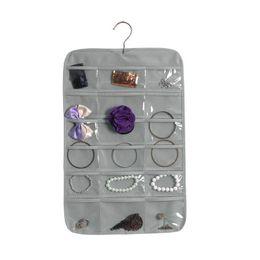 Armazenamento de jóias de parede on-line-[DDisplay] não tecido do lado do parede única de suspensão da jóia saco multi-funcional saco de armazenamento de jóias refrescamento Acabamento Organizador 18 Células